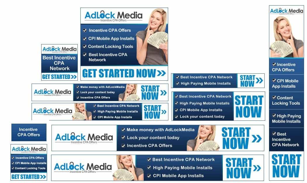 דוגמא לסט באנרים של קמפיין פרסום לאתר Adlock Media