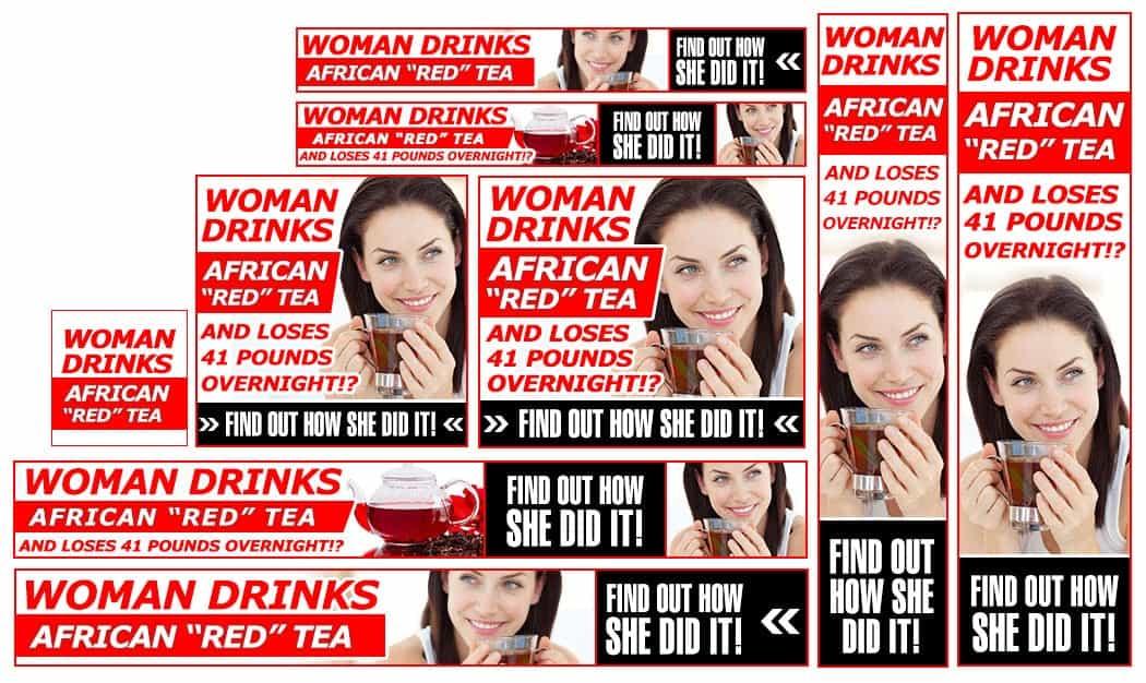 סט באנרים לדוגמא עבור תה אדום