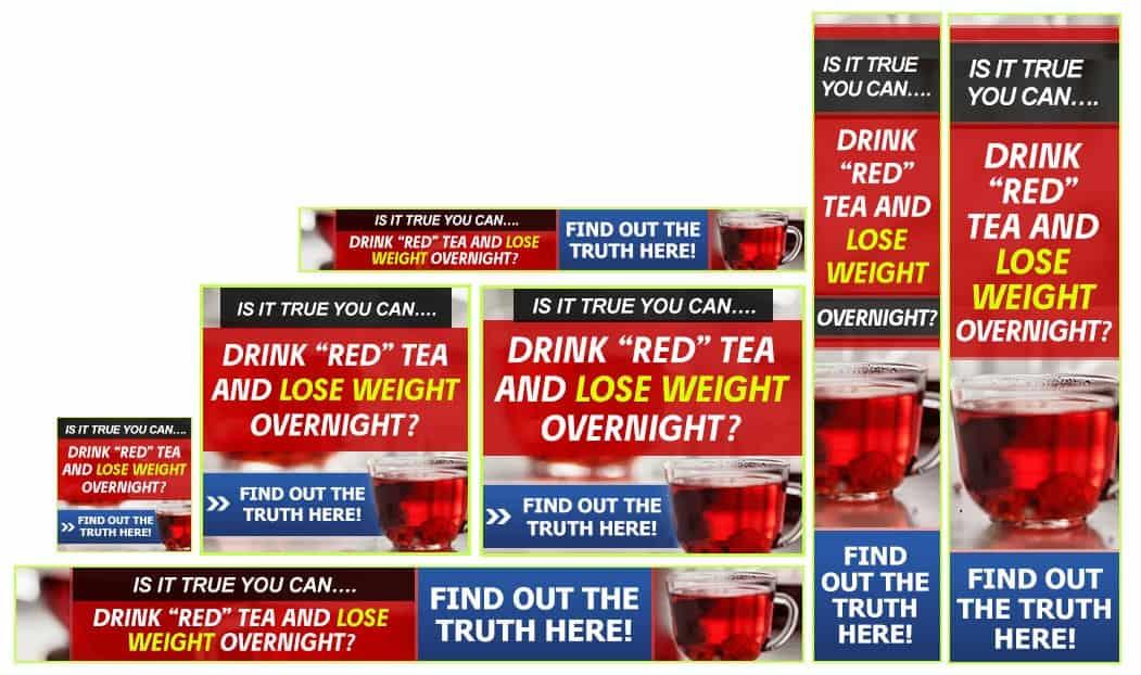 דוגמא לסט באנרים עבור דיאטת תה אדום
