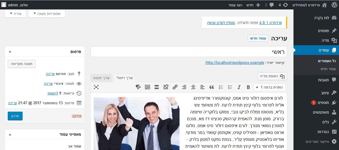 פאנל הניהול וורדפרס