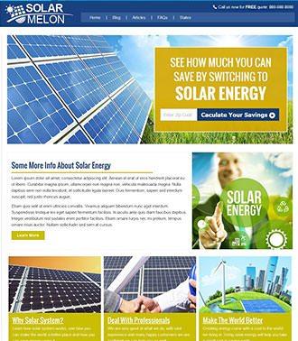 דוגמא לאתר HTML לחברת אנרגיה סולארית