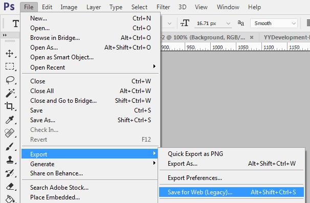 כניסה ל-Save for Web בפוטושופ