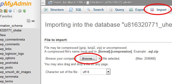 ייבוא של גיבוי בסיס הנתונים
