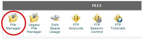 כניסה ל-File Manager בשרת האחסון