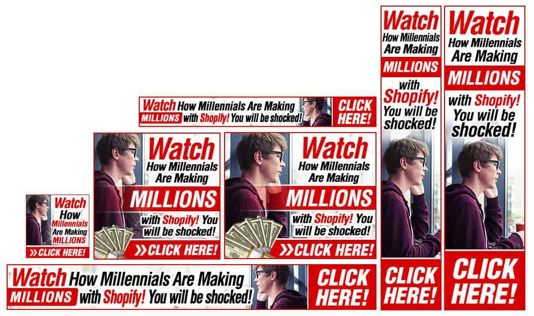 סט באנרים לדוגמא המראה איך להרוויח מיליונים