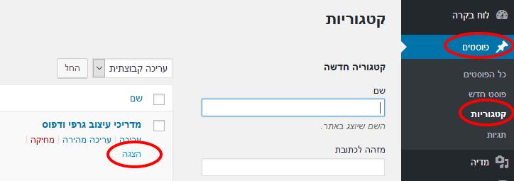 הצגת כתובת URL של קטגוריה בוורדפרס
