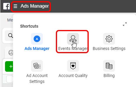 כניסה ל-Event Manager בפייסבוק