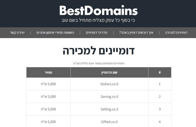 BestDomains - אתר למכירת דומיינים