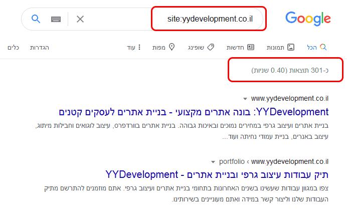 בדיקה האם האתר מופיע בגוגל